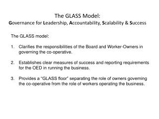 The GLASS Model:  G overnance for  L eadership,  A ccountability,  S calability &  S uccess