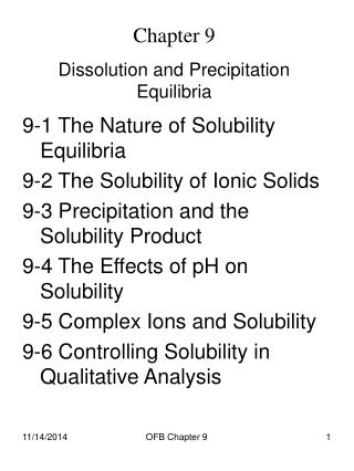 Chapter 9 Dissolution and Precipitation Equilibria