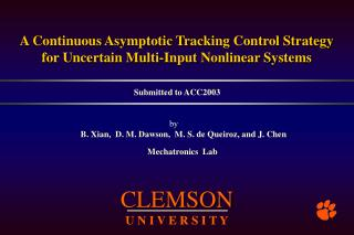 A Continuous Asymptotic Tracking  C ontrol Strategy for Uncertain Multi-Input Nonlinear Systems