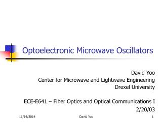 Optoelectronic Microwave Oscillators
