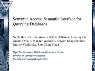 Semantic Access: Semantic Interface for Querying Databases