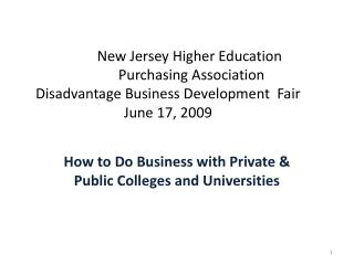 How to Do Business with Private & Public Colleges and Universities