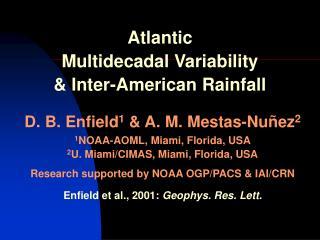 Atlantic  Multidecadal Variability  & Inter-American Rainfall
