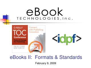 eBooks II: �Formats & Standards