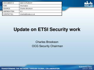 Update on ETSI Security work