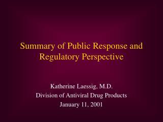 Summary of Public Response and Regulatory Perspective