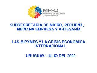SUBSECRETARIA DE MICRO, PEQUE�A, MEDIANA EMPRESA Y ARTESAN�A