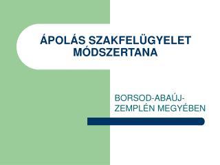 ÁPOLÁS SZAKFELÜGYELET MÓDSZERTANA