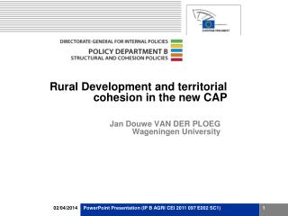 Rural Development and territorial cohesion in the new CAP