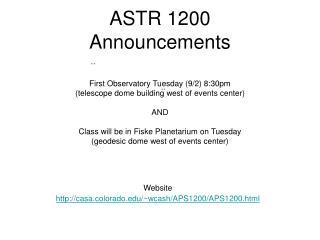 ASTR 1200 Announcements