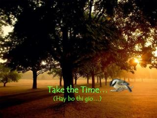 Take the Time … (Hay bo thi gio…)