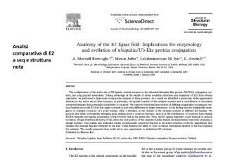 Analisi comparativa di E2 a seq e struttura nota