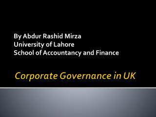 Corporate Governance  in UK