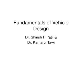 Fundamentals of Vehicle Design