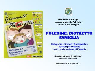 Provincia di Rovigo Assessorato alle Politiche Sociali e alla famiglia