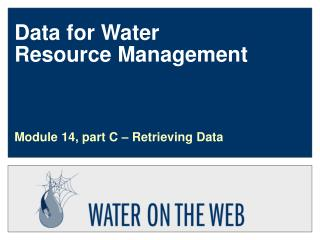 Data for Water        Resource Management