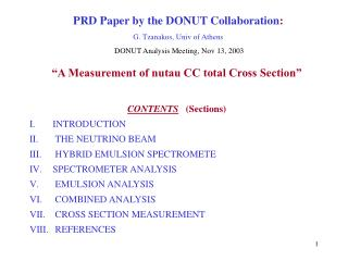 PRD Paper by the DONUT Collaboration :  G. Tzanakos, Univ of Athens