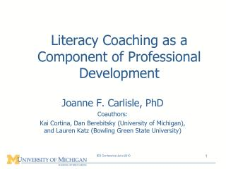 Literacy Coaching as a Component of Professional Development