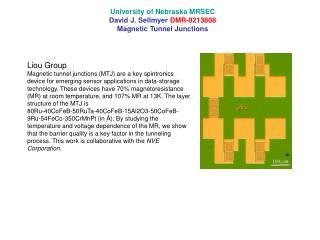 University of Nebraska MRSEC David J. Sellmyer  DMR-0213808 Magnetic Tunnel Junctions