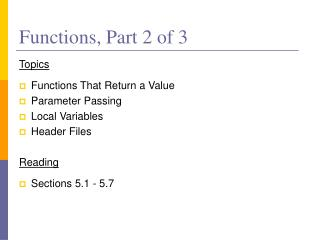 Functions, Part 2 of 3