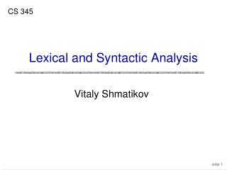 Lexical and Syntactic Analysis