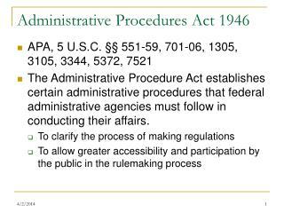 Administrative Procedures Act 1946