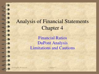 Analysis of Financial Statements Chapter 4