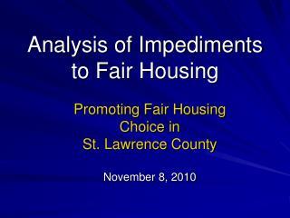 Analysis of Impediments to Fair Housing