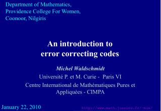 An introduction to  error correcting codes