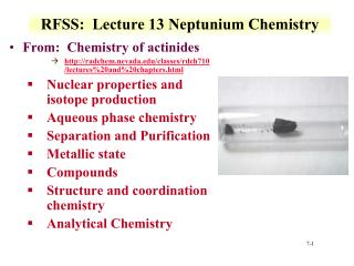 RFSS:  Lecture 13 Neptunium  Chemistry