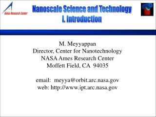 Nanoscale Science and Technology I. Introduction