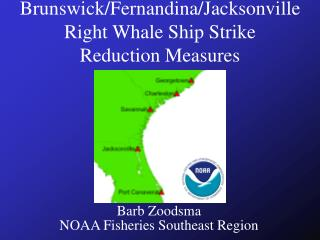 Brunswick/Fernandina/Jacksonville Right Whale Ship Strike Reduction Measures