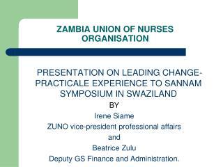 ZAMBIA UNION OF NURSES ORGANISATION