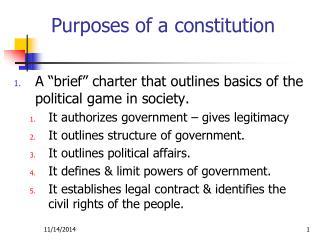 Purposes of a constitution