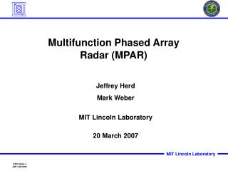 Multifunction Phased Array Radar (MPAR)