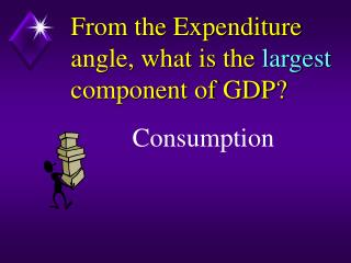 From the Expenditure angle, what is the  largest  component of GDP?