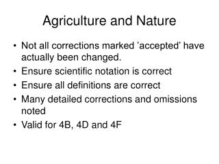 Agriculture and Nature