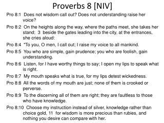 Proverbs 8 [NIV]