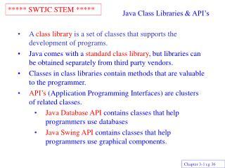 Java Class Libraries & API's