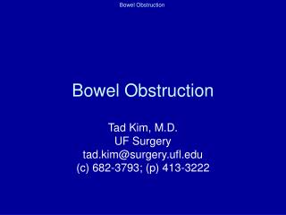 Bowel Obstruction