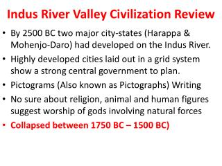 Indus River Valley Civilization Review