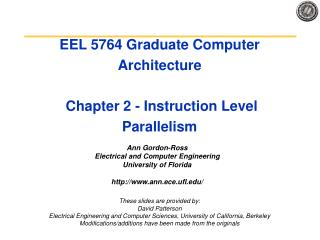 EEL 5764 Graduate Computer Architecture  Chapter 2 - Instruction Level Parallelism