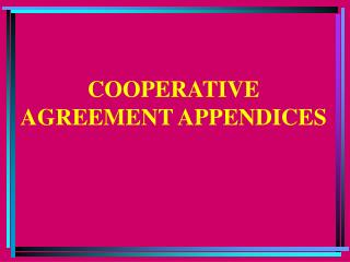 COOPERATIVE AGREEMENT APPENDICES