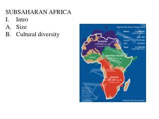 SUBSAHARAN AFRICA Intro Size Cultural diversity