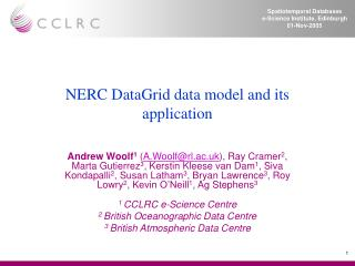 NERC DataGrid data model and its application
