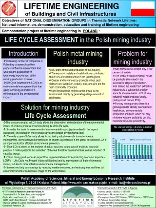 LIFE CYCLE ASSESSMENT  in the Polish mining industry