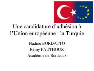Une candidature d�adh�sion � l�Union europ�enne : la Turquie