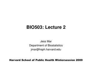 BIO503: Lecture 2