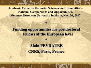 * Funding opportunities for postdoctoral fellows at the European level * Alain PEYRAUBE