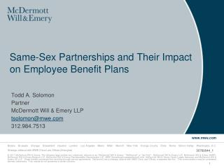 Same-Sex Partnerships and Their Impact on Employee Benefit Plans